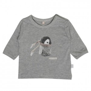 Hust & Claire Langarm-Shirt Pinguin light grey melange