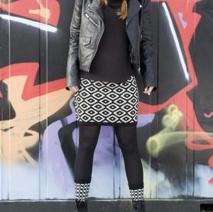 Bonnie Doon Damen Strick Rock AZTEC schwarz/offwhite