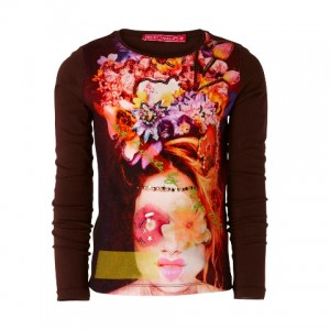 Muy Malo Langarm-Shirt/Longsleeve Woman with Flowerhair bracken