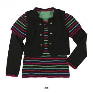 Mim-Pi Langarmshirt mit Boleroweste schwarz-bunt