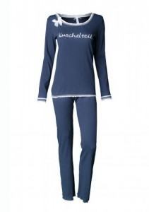 "Louis & Louisa Damen Schlafanzug/Pyjama ""KUSCHELZEIT"" blau"