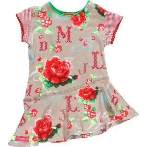 Kiezel-tje Mini Kleid Blumen beige