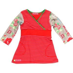 Kiezel-tje Mini Langarm-Kleid Streifen rot/pink