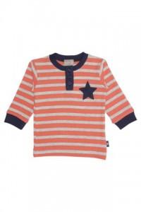Hust & Claire Langarm-Shirt Streifen orange/grau