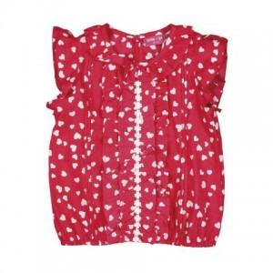 Mim-Pi Bluse/Shirt Herz-Print rot