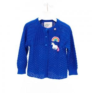 Mim-Pi Cardigan/Strickjacke Einhorn blau