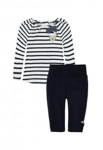Steiff 2teiliges Set Mädchen Langarmshirt & Legging marine-weiss