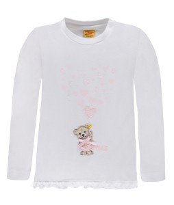Steiff Langarm-Shirt Herzchen bright white