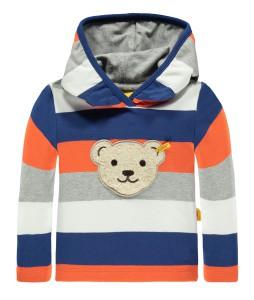 Steiff Kapuzen-Sweatshirt mit Quietschebär Streifen BLUE ZONE
