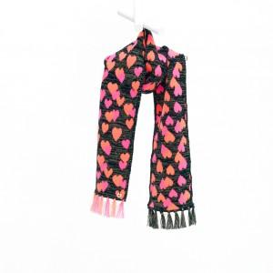 Mim-Pi Strick-Schal Herzen schwarz pink