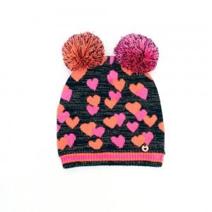 Mim-Pi Strick-Mütze Herzen schwarz pink mit zwei Bommel