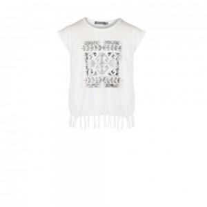 Geisha Top/T-Shirt offwhite Fransen