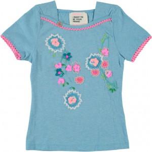 Mim-Pi T-Shirt gestickte Blumen blue
