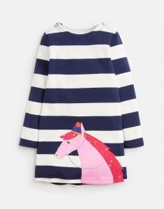 Joules Mädchen Kleid KAYE Blockstrefen und Applikation
