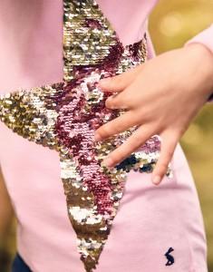 Joules Mädchen Langarm-Shirt Wendepailletten AVA Stern rosa