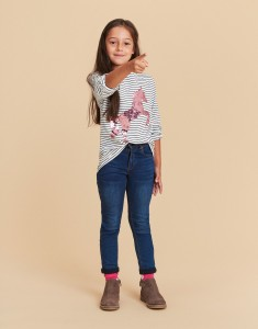Joules Mädchen Streifen Langarm-Shirt Wendepailletten Einhorn blau weiß