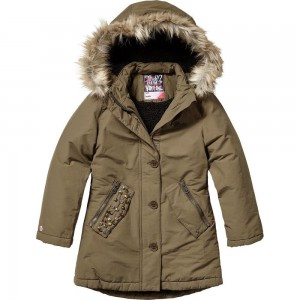 Vingino Winter Long-Jacke / Mantel mit Kapuze TURIEKE army green wood