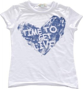 Blue Effect Mädchen T-Shirt Herz-Print weiß