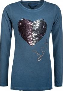 Blue Effect Mädchen Langarm-Shirt Wendepailletten HERZ stahlblau