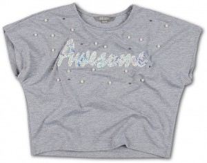 Blue Effect Mädchen Boxy T-Shirt AWESOME hellgrau melange