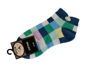 Bonnie Doon Digital Art kurz-Socken karo blau/grün/rosa