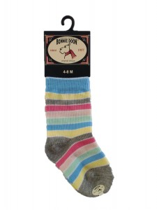 Bonnie Doon Full Color Baby-Socken Streifen light grey heather