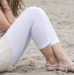 Bonnie Doon 3/4-Legging Ajour-Muster weiß