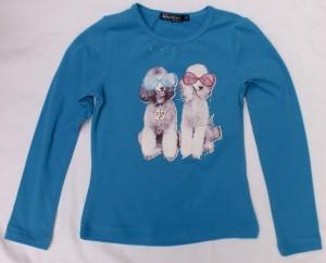 Carbone Langarm-Shirt/Longsleeve Hunde-Print blau