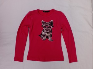 Carbone Langarm-Shirt/Longsleeve Hunde-Print pink