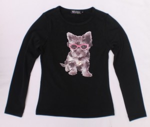 Carbone Langarm-Shirt/Longsleeve Hunde-Print schwarz