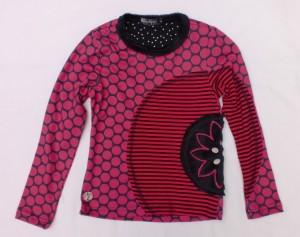 Carbone Langarm-Shirt/Longsleeve Punkte-Mix pink-schwarz