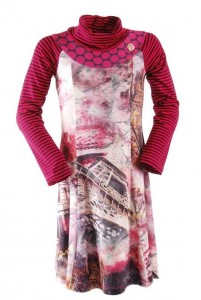 Carbone Kleid pink Paris-Print