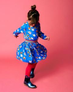Mim-Pi Langarm-Kleid Katzen blau