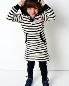 Mim-Pi Langarm-Sweat-Kleid Streifen schwarz weiß mit Kapuze