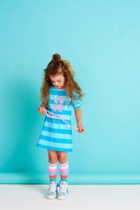 Mim-Pi 3/4-Arm-Kleid Blockstreifen blue