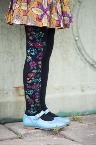 Bonnie Doon Strumpfhose Embroidered Flowers light navy