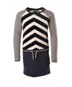 LIKE FLO Langarm-Kleid Teddy Streifen navy