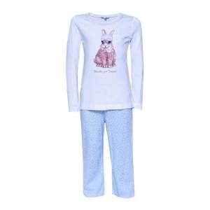 Louis & Louisa Mädchen Schlafanzug/Pyjama Hase weiß/hellblau