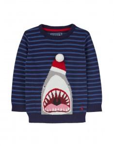 Joules Jungen Strick-Pullover festiver Hai Streifen blau