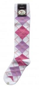 Bonnie Doon Kniestrümpfe Raute weiß-pink