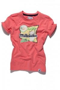 PETROL T-Shirt neon coral milkshake-Print