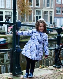 Mim-Pi Winter-Jacke/-Mantel Pinguine taubenblau mit Kapuze