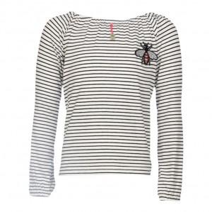 KIE stone Langarm-Shirt/Longsleeve/Bluse Streifen black-white