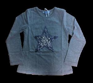 Louis & Louisa Langarm-Shirt/Longsleeve Paillettenstern grau