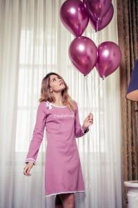 Louis & Louisa Damen Nachthemd Rippe ZAUBERHAFT rosa