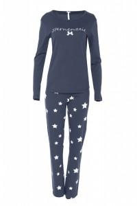 """Louis & Louisa Damen Schlafanzug/Pyjama """"Sternenzeit"""", antra / antra allover"""