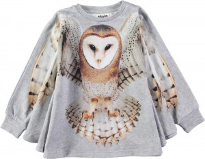 Molo Mädchen Langarm-Sweat-Shirt-Cape MARIS flying Owl