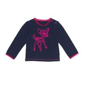 Mim-Pi Baby Langarm-Shirt/Longsleeve Bambi-Stickerei navy