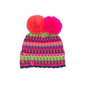 Mim-Pi Winter-Mütze Doppel-Bommel Streifen multicolor