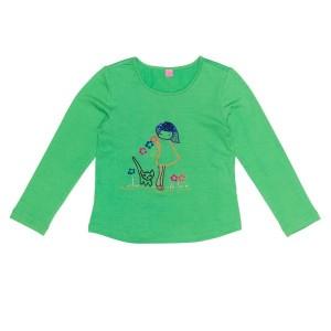 Mim-Pi Langarm-Shirt/Longsleeve Mädchen/Cat-Stickerei grün